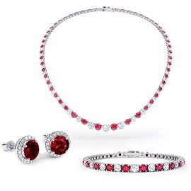 Eternity Ruby Platinum plated Silver Jewelry Set with Necklace