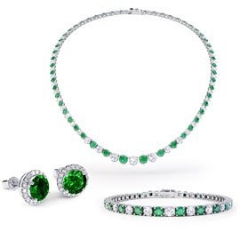 Eternity Emerald CZ Rhodium plated Silver Jewelry Set