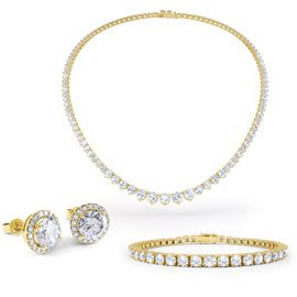 Eternity Diamond CZ 18K Gold finished Silver Jewelry Set