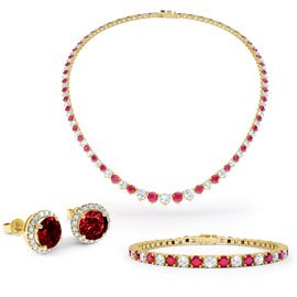 Eternity Ruby CZ 18ct Gold plated Silver Jewelry Set