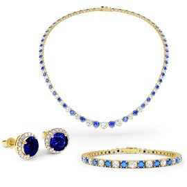 Eternity Sapphire CZ 18K Gold plated Silver Jewelry Set