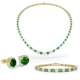 Eternity Emerald 18ct Gold Vermeil Jewelry Set  with Necklace