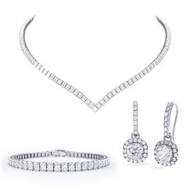 Princess Diamond CZ Rhodium plated Silver Jewelry Set