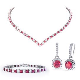 Princess Ruby CZ Rhodium plated Silver Jewelry Set