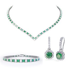 Princess Emerald CZ Rhodium plated Silver Jewelry Set