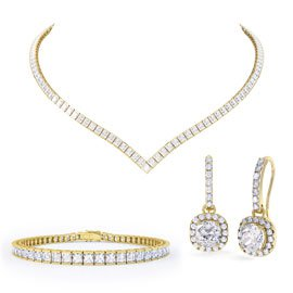 Princess Diamond CZ 18ct Gold plated Silver Jewelry Set