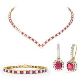 Princess Ruby CZ 18ct Gold plated Silver Jewelry Set