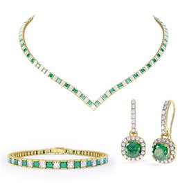 Princess Emerald CZ 18ct Gold plated Silver Jewelry Set