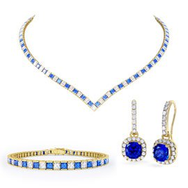 Princess Sapphire CZ 18ct Gold plated Silver Jewelry Set