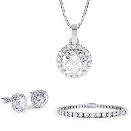 Eternity White Sapphire Platinum plated Silver Jewelry Set with Pendant