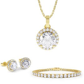 Eternity White Sapphire 18K Gold Vermeil Jewelry Set with Pendant