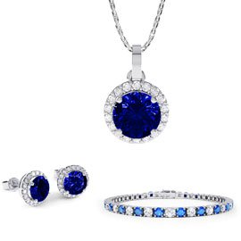 Eternity Sapphire Platinum plated Silver Jewelry Set with Pendant