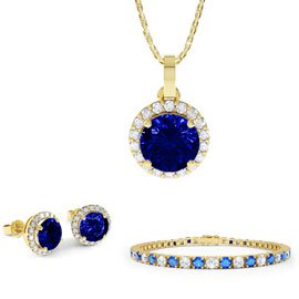 Eternity Sapphire 18K Gold Vermeil Jewelry Set with Pendant