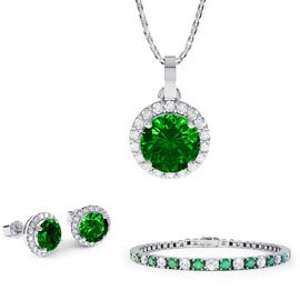Eternity Emerald Platinum plated Silver Jewelry Set with Pendant