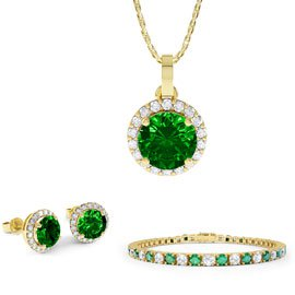 Eternity Emerald 18K Gold Vermeil Jewelry Set with Pendant