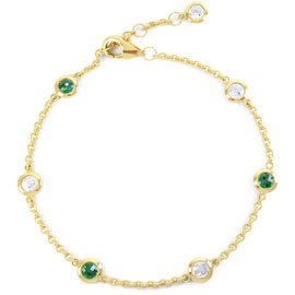 By the Yard Emerald 18ct Gold Vermeil Bracelet