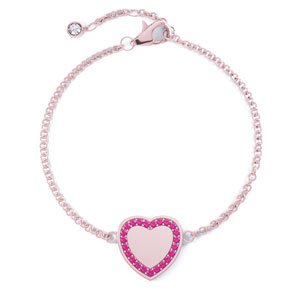 Charmisma Ruby 18ct Rose Gold Vermeil Heart Bracelet