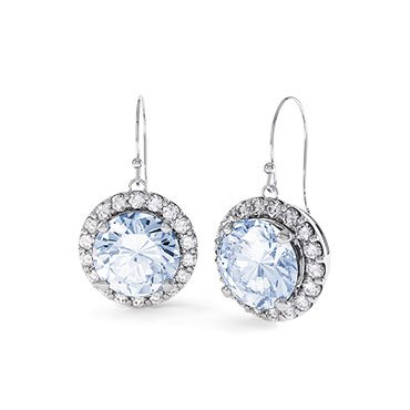 Halo Aquamarine Halo Platinum plated Silver Drop Earrings