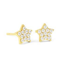 Charmisma GH SI1 Diamond Mini Star 18ct Yellow Gold Stud Earrings