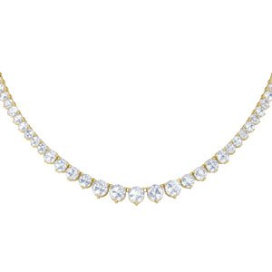 Eternity Diamond CZ 18K Gold plated Silver Tennis Necklace
