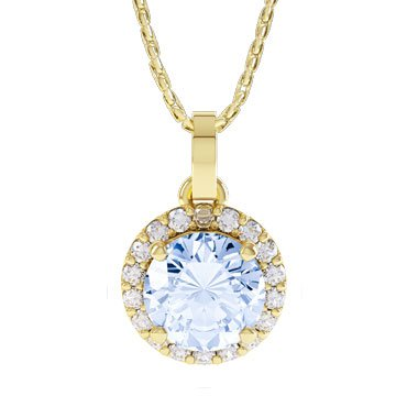 Halo Aquamarine and Diamond 18ct Yellow Gold Pendant