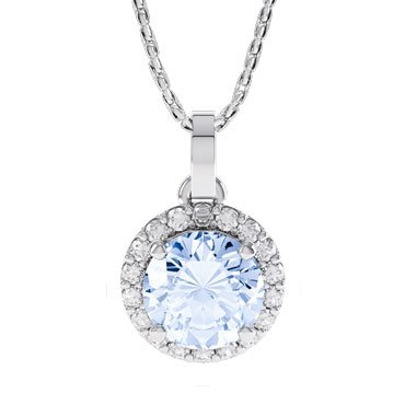 Halo Aquamarine and Diamond 18ct White Gold Pendant
