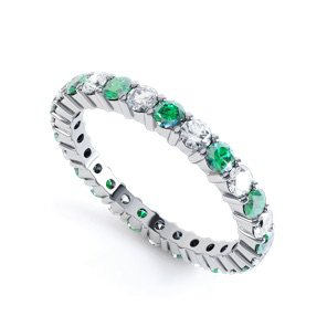 Promise Emerald 18ct White Gold Full Eternity Ring 2.5mm Band