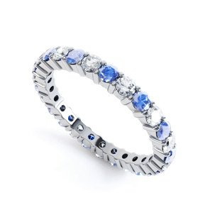 Promise Sapphire Platinum plated Silver Eternity Full Ring 2.5mm Band